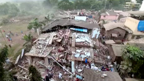 A general view shows debris of a collapsed building in Raigad in the western state of Maharashtra, India on August 24, 2020.