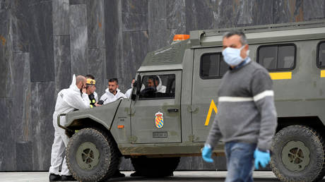 Members of the Military Emergency Unit (UME) in Oviedo, Spain, March 17, 2020