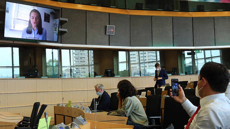 Members of the Committee on Foreign Affairs of the European Parliament attend a video-conference meeting with Belarusian opposition figurehead Svetlana Tikhanovskaya (on screen) on the political situation in Belarus at the European Parliament in Brussels on August 25, 2020