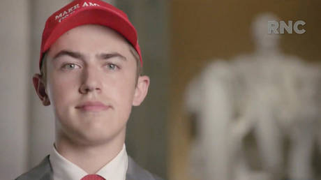 Former Covington Catholic High School Student Nicholas Sandmann speaks by video feed at the 2020 Republican National Convention, broadcast from Washington, DC, August 25, 2020.