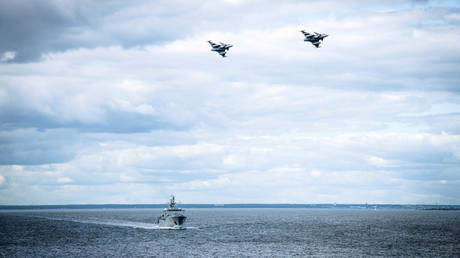 Sweden's air force and navy in the Baltic Sea region off the coast of Gotland, Sweden August 25, 2020.