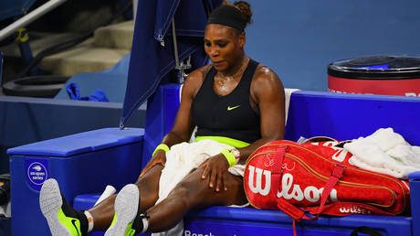 Serena Williams during her defeat to Maria Sakkari. © USA Today Sports