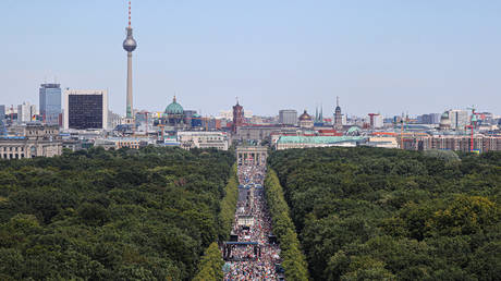 Anti-lockdown march near the Brandenburg Gate in Berlin, Germany, August 1, 2020. City authorities have banned the planned August 29 protest.