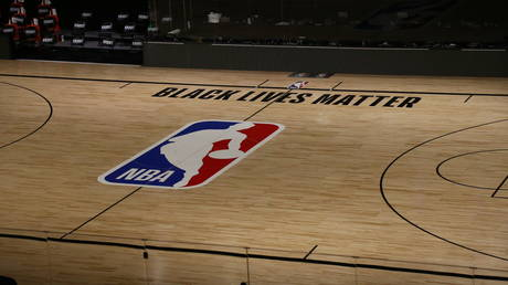 A court sits empty after the Milwaukee Bucks refused to play their match against the Orlando Magic in protest of the police killing of Jacob Blake, in Lake Buena Vista, Florida, August 26, 2020.