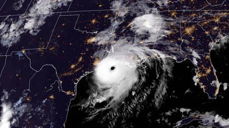 This RAMMB/NOAA satellite image shows Hurricane Laura near the coast of Louisiana on August 26, 2020