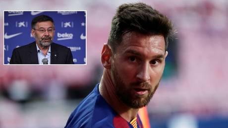 Lionel Messi and under-fire Barcelona president Josep Maria Bartomeu. © Reuters