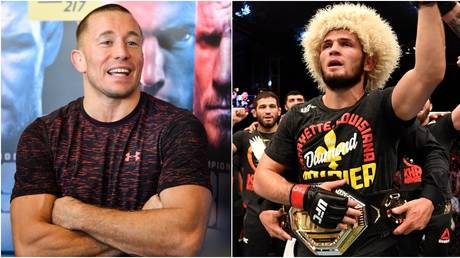 MMA icon Georges St Pierre and UFC lightweight champ Khabib Nurmagomedov. © AFP / Getty Images