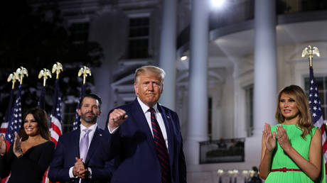 US President Donald Trump after delivering his acceptance speech at the 2020 Republican National Convention on the South Lawn of the White House in Washington, August 27, 2020.