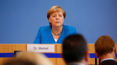 Angela Merkel holds her annual summer news conference in Berlin, Germany, August 28, 2020.