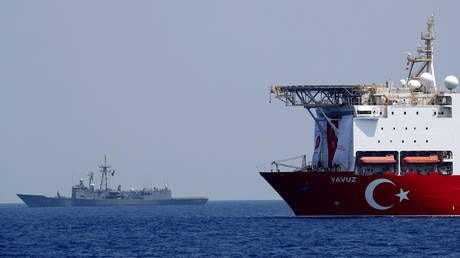 FILE PHOTO. Turkish drilling vessel Yavuz is seen escorted by a Turkish Navy frigate in the eastern Mediterranean off Cyprus.