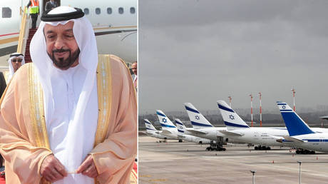 Sheikh Khalifa bin Zayed bin Sultan Al Nahyan / Planes at the Ben Gurion International airport. ©Yousef Allan/Royal Palace-Handout / REUTERS/Ronen Zvulun