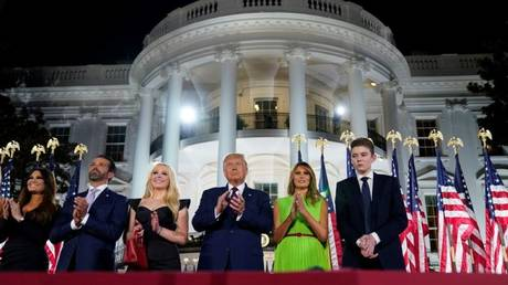 President Donald Trump and family members on the final night of the RNC.