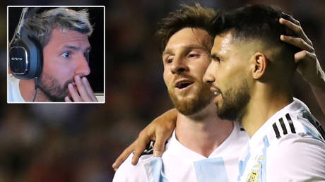 Sergio Aguero could persuade Lionel Messi (center) to move from Barcelona to Manchester City © Twitter / R9Rai | © Marcos Brindicci / Reuters