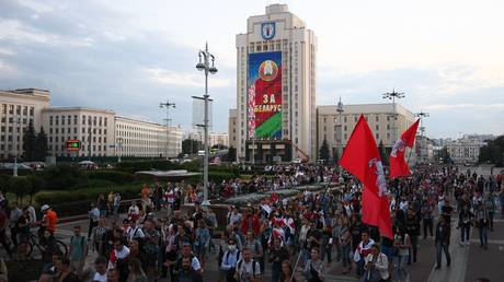 FILE PHOTO: An opposition rally in Minks, Belarus, on August 24, 2020.