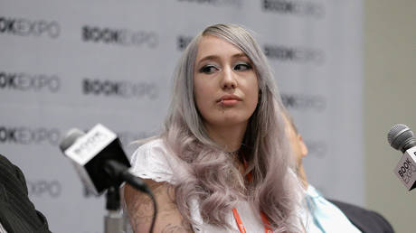 """FILE PHOTO: Zoe Quinn speaks during """" The First Amendmant Resistance"""" panel during the BookExpo 2017 at Javits Center on June 1, 2017 in New York City"""