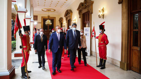 Venezuela's President Nicolas Maduro and Turkish FM Mevlut Cavusoglu at a recent meeting at Miraflores Palace in Caracas, Venezuela August 18, 2020.