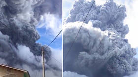 WATCH: Indonesian countryside plunged into darkness as volcano unleashes towering column of ash