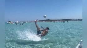'God save the Queen': Zlatan trolls England as he recreates epic overhead kick on holiday (VIDEO)