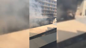 WATCH: Thick black smoke billows from HUGE HOTEL FIRE in Spain