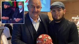 'Don't make him angry': Football fan Khabib thanks Russia manager after UFC champ joins him for Lokomotiv Moscow match (VIDEO)