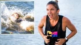 Taking the plunge: Simona Halep makes a splash to celebrate victorious return at Prague Open (PHOTOS)