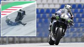 No Brakes Motogp Star Maverick Vinales Jumps Off Bike At 133 Mph As His Brakes Fail At The Styrian Gp Video Rt Sport News