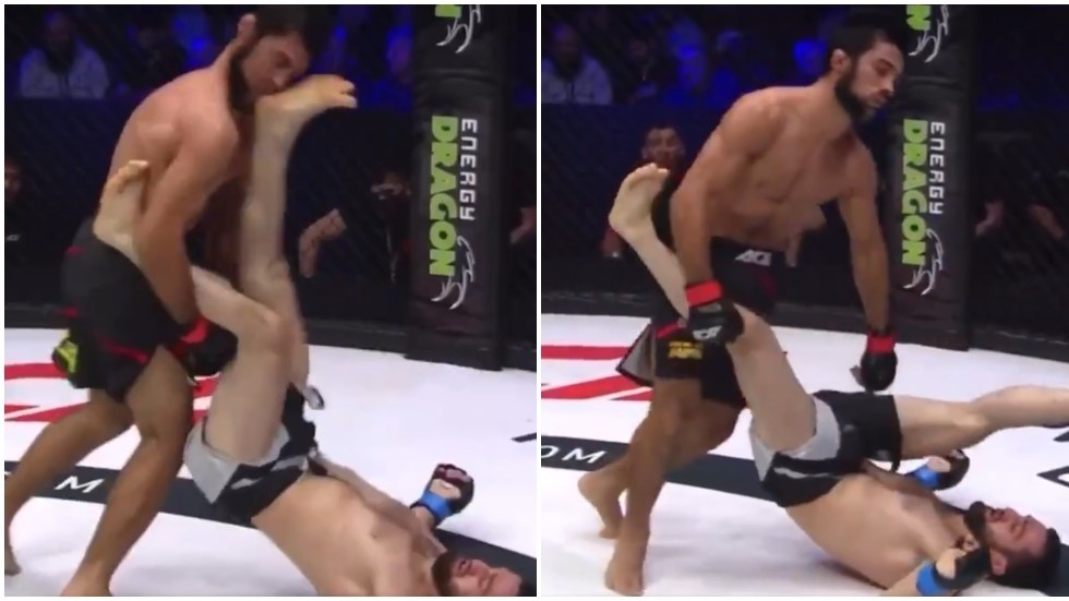 'Unbelievable': MMA fighter ends all-Russian scrap with BRUTAL UPKICK to send stunned opponent face-first onto the canvas (VIDEO)