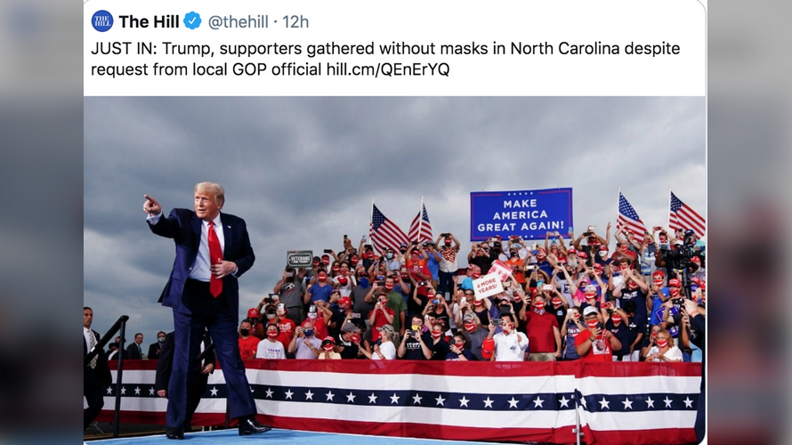 Try again! The Hill illustrates post complaining about 'maskless' Trump supporters with image of rally-goers WEARING masks