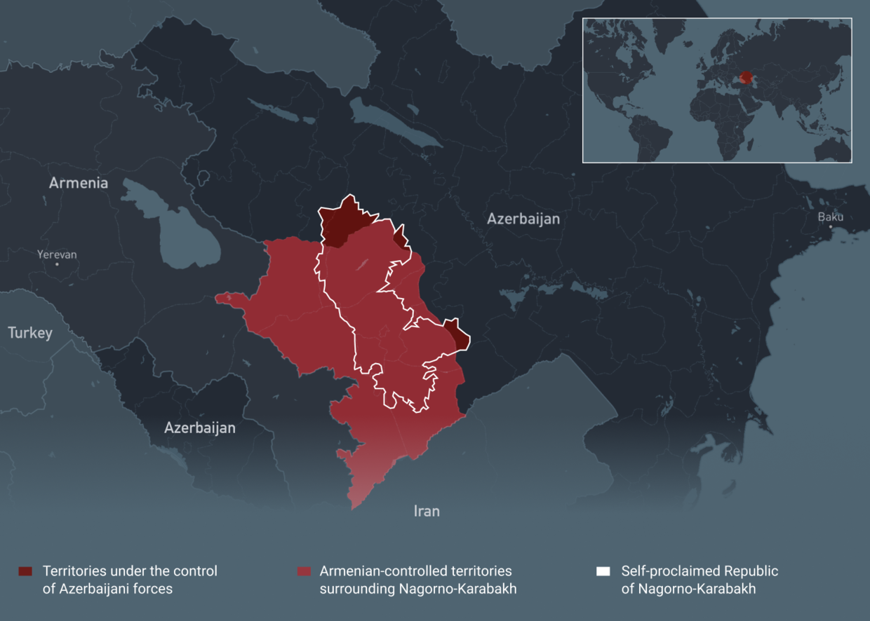 Azerbaijan Armenia At War What You Need To Know About Bloody Conflict Over Long Disputed Region Of Nagorno Karabakh Map Rt Russia Former Soviet Union
