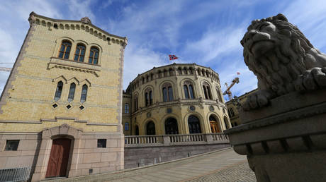 FILE PHOTO. Norwegian Parliament house is seen in Oslo, Norway.