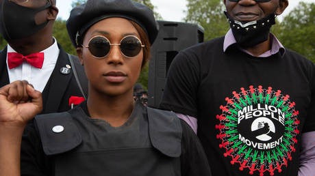 Sasha Johnson Co-organiser of the Million People March and Black Lives Matter activist takes part during the demonstration. © Getty Images / Thabo Jaiyesimi/SOPA Images/LightRocket