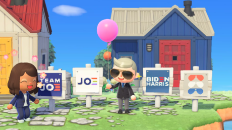 Joe Biden and Kamala Harris promotional campaign signs in 'Animal Crossing: New Horizons'