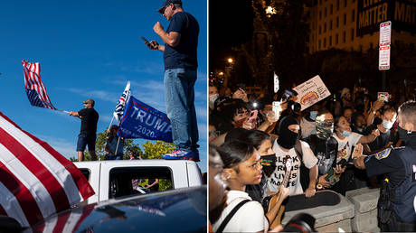 (L) Trump supporters wave flags during a rally in support of the president on August 29, 2020 in Clackamas, Oregon. © Getty Images/Nathan Howard; (R) Washington DC Police try to keep Demonstrators back as they gather at Black Lives Matter plaza on August 27, 2020 © Getty Images/Tasos Katopodis