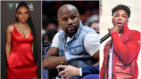Yaya Mayweather (left) - Getty / Cassidy Sparrow; Floyd Mayweather (center) Reuters / Jasen Vinlove; YoungBoy NBA (right) - Getty / Paras Griffin