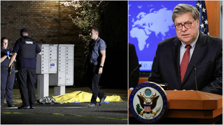 (L) Investigators with the Washington State Crime Lab stand at the scene where Michael Reinoehl was shot dead by police, in Lacey, Washington, September 3, 2020; (R) Attorney General Bill Barr.