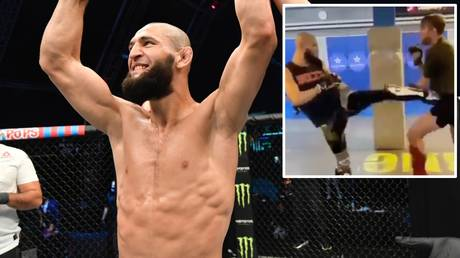 Khamzat Chimaev DROPS UFC heavyweight Alexander Gustafsson in training – but was it a low blow? (VIDEO)