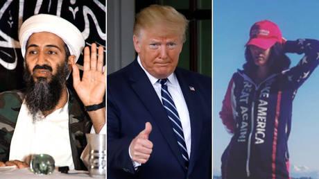 Osama bin Laden, Donald Trump, and Noor bin Ladin © Reuters / Yuri Gripas and Instagram / @realnoorbl