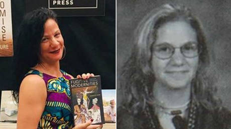 Jessica Krug (L), as a professor promoting her book, and (R) as a high school sophomore in Kansas City.