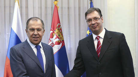 FILE PHOTO: Russian Foreign Minister Sergey Lavrov and Serbian President Aleksandar Vucic.