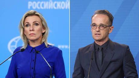 (L) Representative of the Russian Ministry of foreign Affairs Maria Zakharova © Sputnik/RUSSIAN FOREIGN MINISTRY; (R) German Foreign Minister Heiko Maas © Getty Images/Stephanie Loos