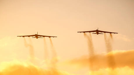 FILE PHOTO. Two US Air Force B-52 Stratofortress bomber aircraft.