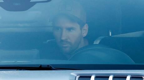 Lionel Messi arrives for training at Barcelona