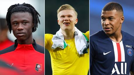 Transfer targets (L-R): Eduardo Camavinga, Erling Haaland, Kylian Mbappe