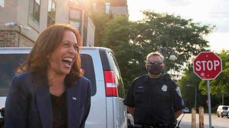 Democratic VP nominee Kamala Harris speaks to supporters during a campaign visit to Milwaukee, Wisconsin, September 7, 2020.