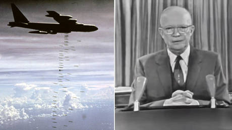 """FILE PHOTO: A US Air Force B-52 heavy bomber strikes targets in Vietnam; President Dwight D. Eisenhower's farewell address, in which he warned about the influence of the """"military-industrial complex."""" © US Air Force/Handout via REUTERS"""