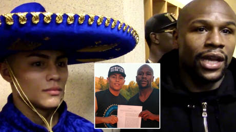 Boxing prospect and Floyd Mayweather (right) signing Danny Gonzalez has been shot dead in the US © YouTube / FightHype Instagram / floydmayweather