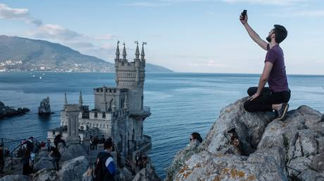 The Swallow's Nest castle overlooking the Black Sea outside the Crimean town of Yalta