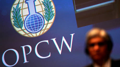 The logo of the Organisation for the Prohibition of Chemical Weapons (OPCW) during a special session in the Hague, Netherlands (June 26, 2018 file photo).
