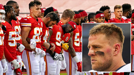 Houston Texans' JJ Watt was part of a protest during the NFL game against Kansas City Chiefs © Denny Medley / USA Today Sports via Reuters | © Jay Biggerstaff / USA Today Sports