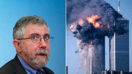 Paul Krugman, seen alongside an image of the burning World Trade Center on September 11, 2001 © Reuters / Brendan McDermid and Sean Adair
